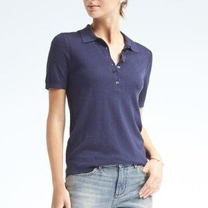 Banana Republic Navy Silk Cotton Pointelle Polo M